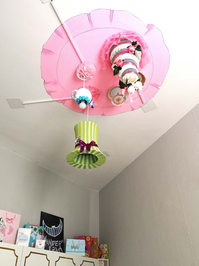 DIY chandelier inspired by the Mad Hatter's tea party of Alice in Wonderland