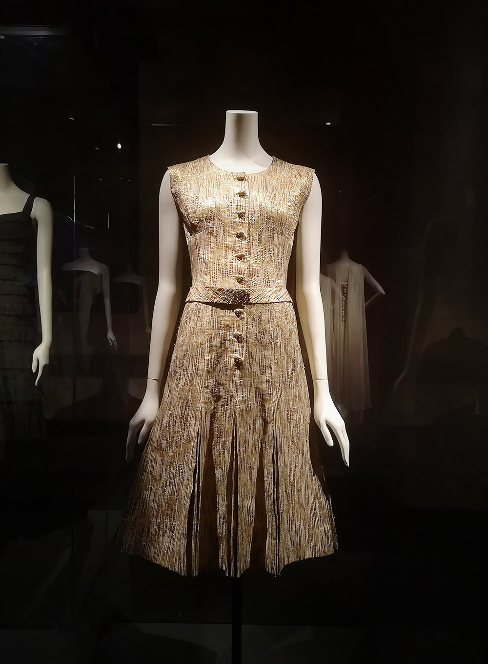 """Dress worn by Delphine Seyrig in """"Last year in Mariebad"""" / 1960-61 / Coco Chanel / Palais Galliera / 2021 / Paris, Cinémateque Francaise, Gift from Delphine Seyrig"""